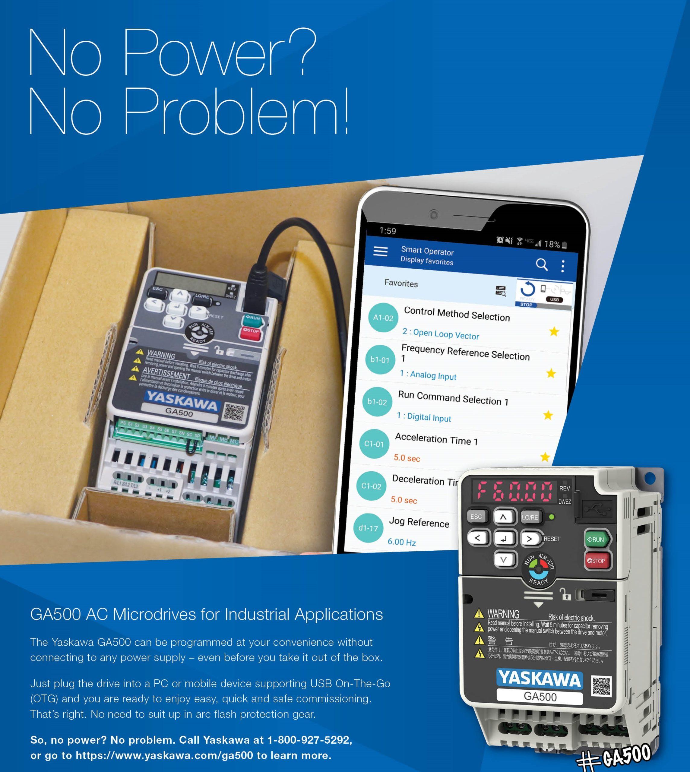 Yaskawa microdrive and smart phone
