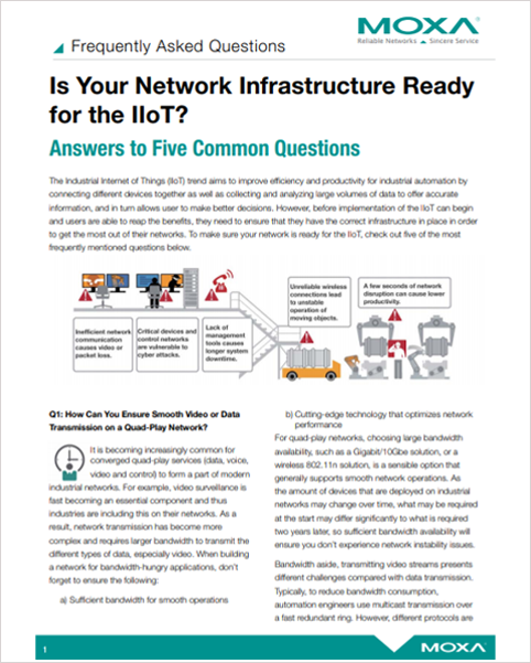 Cover of MOXA- Is Your Network Infrastructure Ready for IIoT