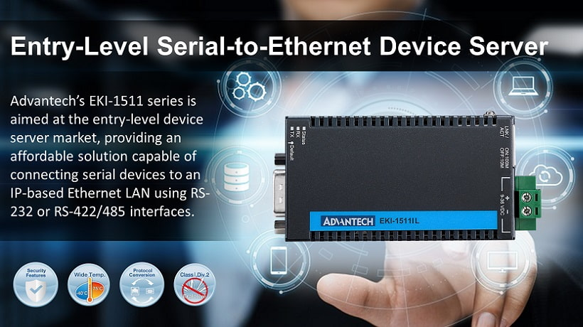 EKI-1511 series are industrial grade, entry-level serial-to-Ethernet device server